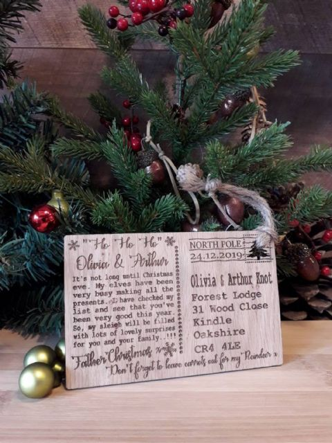 Personalised Christmas Letter from Santa Father Christmas Wood Decoration Gift
